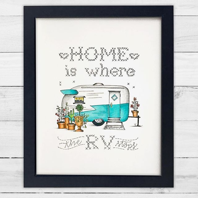 🚍Home Is Where The RV Stops! 🛣Remember this illustration? I took the liberty of adding some color and I just adore how it turned out. Lots of fun vibrant colors to draw your eye in and even though I don't have an RV I have this cutie hanging in my studio because it's just so fun and cheery! If you'd love to snag one for your home, with or without wheels, it's now up in the shop! And if your thinking you'd like to add the color yourself well I've gotcha covered there too with black and white prints. Printed on lovely matte paper that's so soft it feels like satin under your color pencils! 😍 All prints ship FREE to anywhere in the beautiful USA and I'd love to send one your way! Link in Bio!