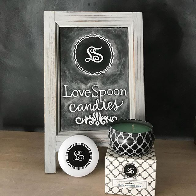 Worked on some tabletop chalkboards for @lovespooncandles If you haven't seen their candles you really need to check them out. They smell amazing and fill a room with such a lovely scent. And did I mention they are local! I fell head over heels for Cucumber Mint and Day At Spa scents! Love their packaging and the story behind their company name is so awesome! Ever heard of a Love Spoon? I hadn't, but I now know and adore the idea. Check them out!