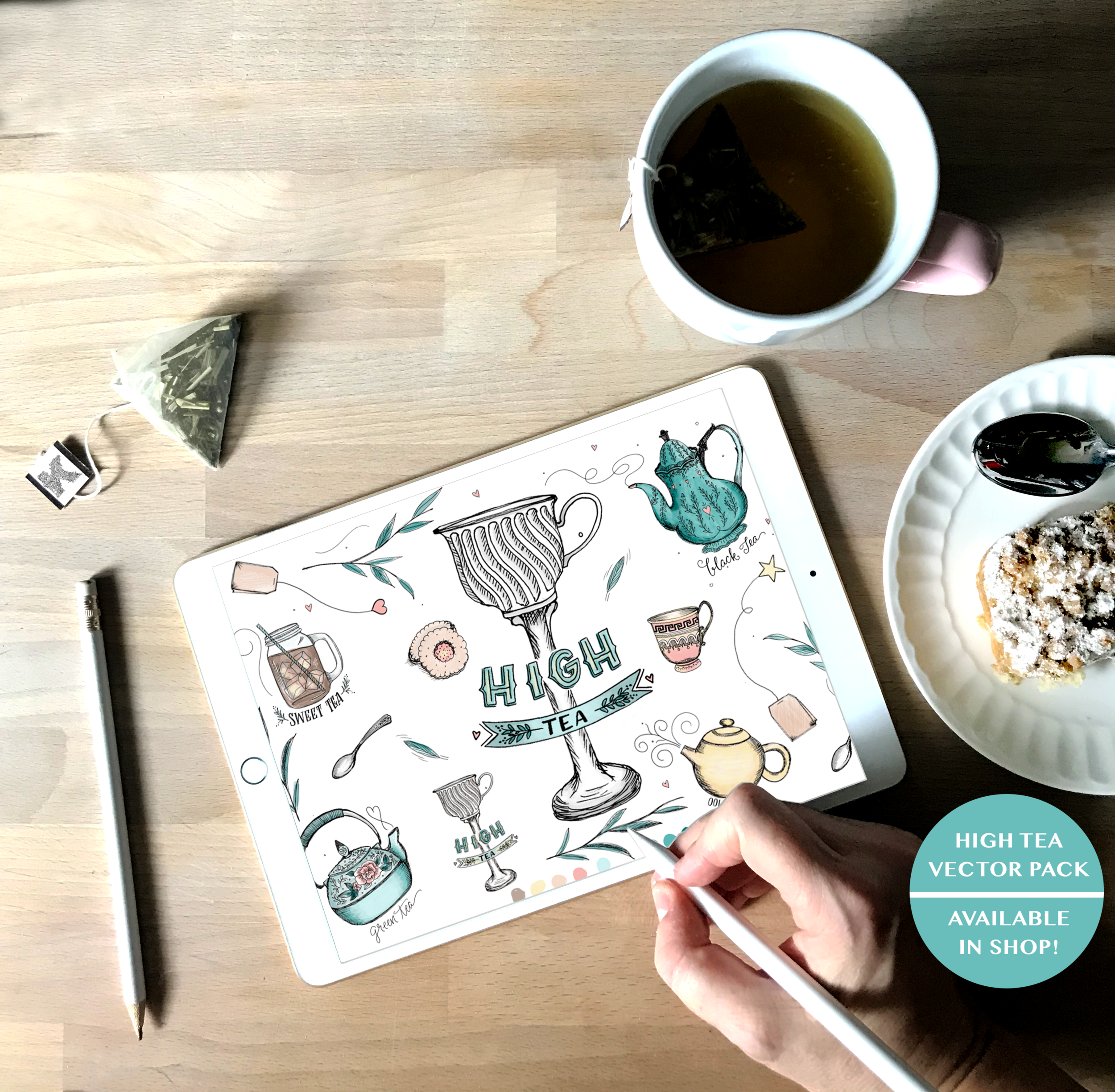 Copy of High Tea Illustration Vector Pack Teapot Illustrations