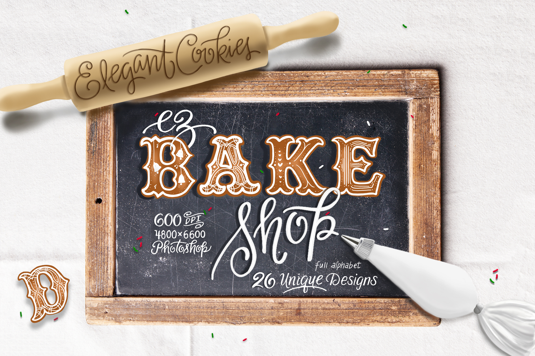 christmas cookie font lettering pack
