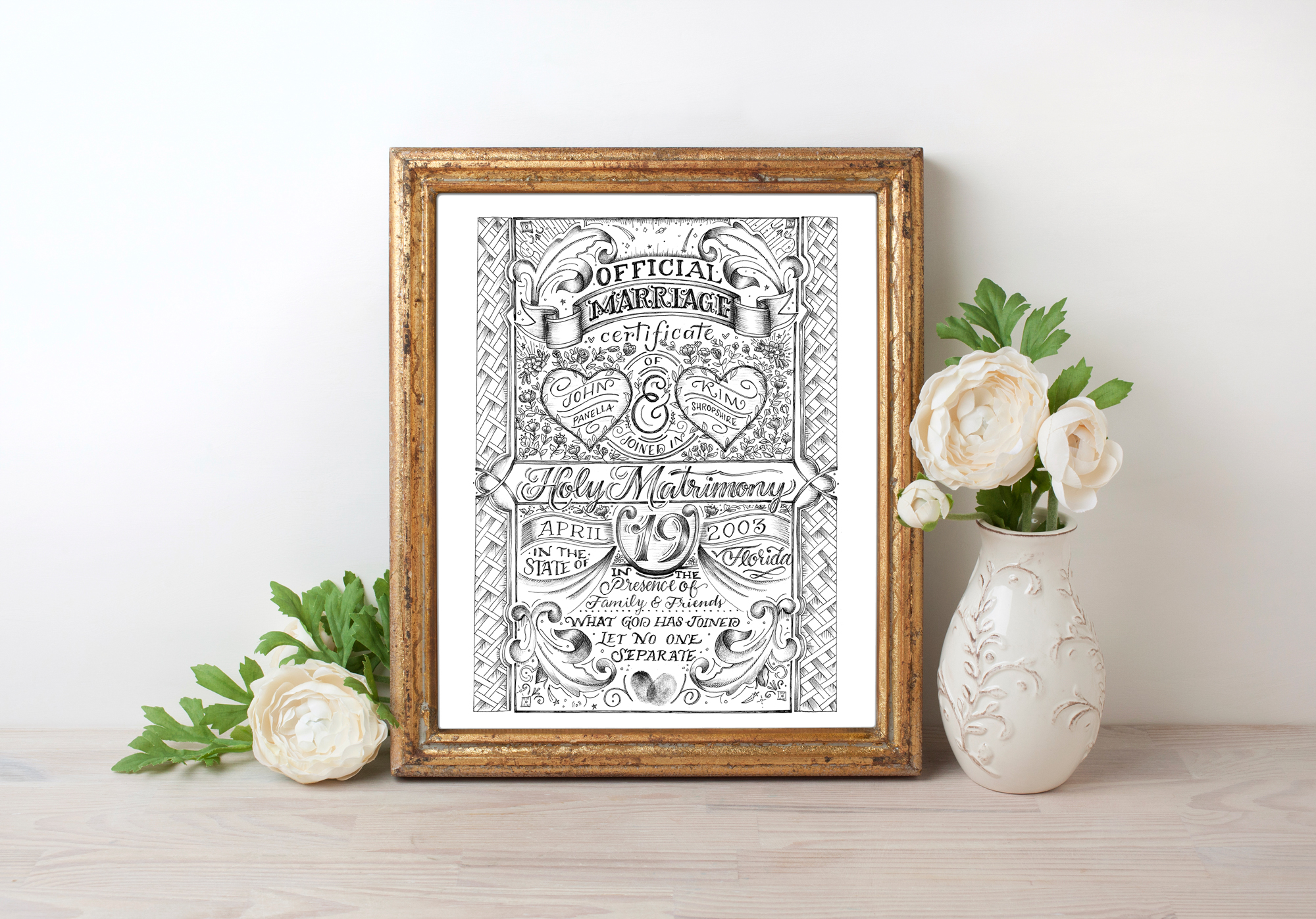 Custom Marriage Certificate, anniversary gift