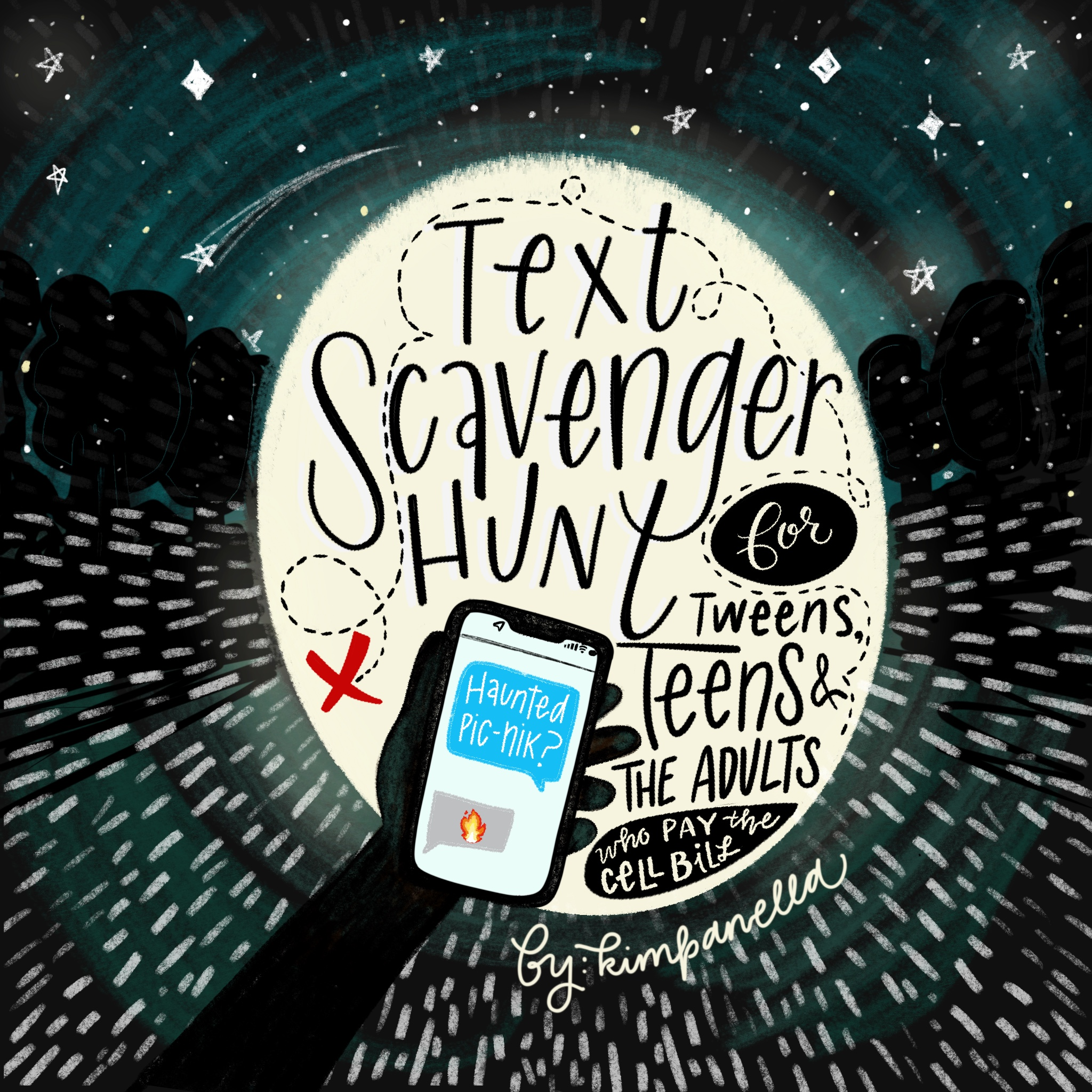 text scavenger hunt, teen party game, tween party game, adult party game, hide and seek game, cell phone text game