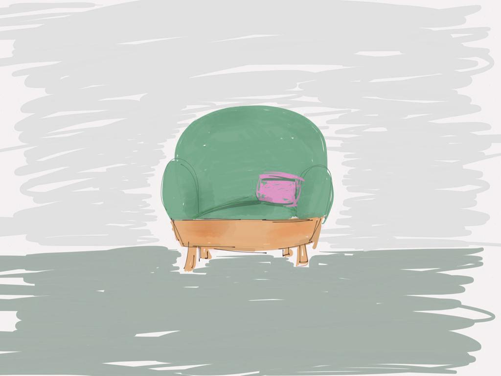 basket sofa sketch