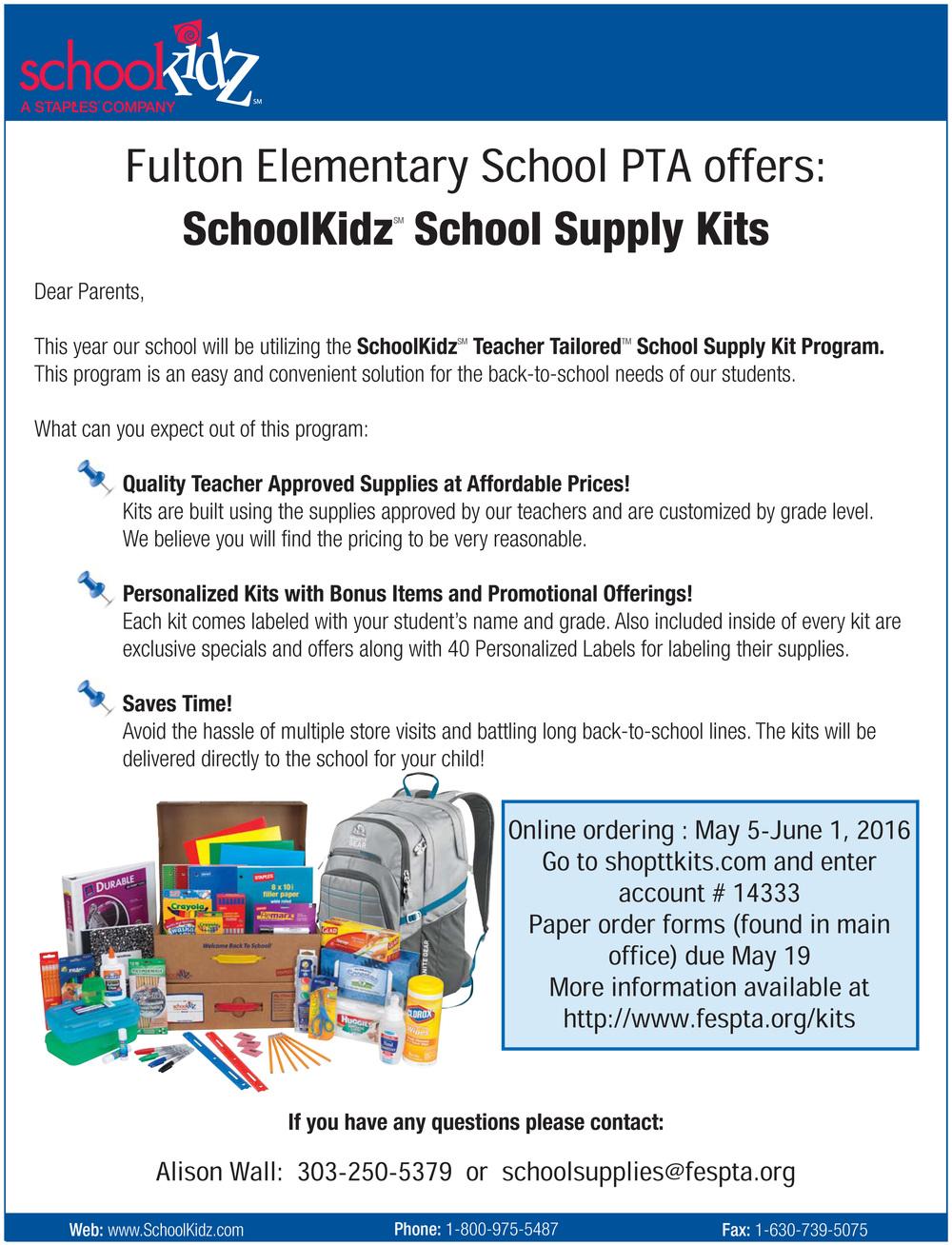 Back to School Kits — Fulton Elementary School PTA