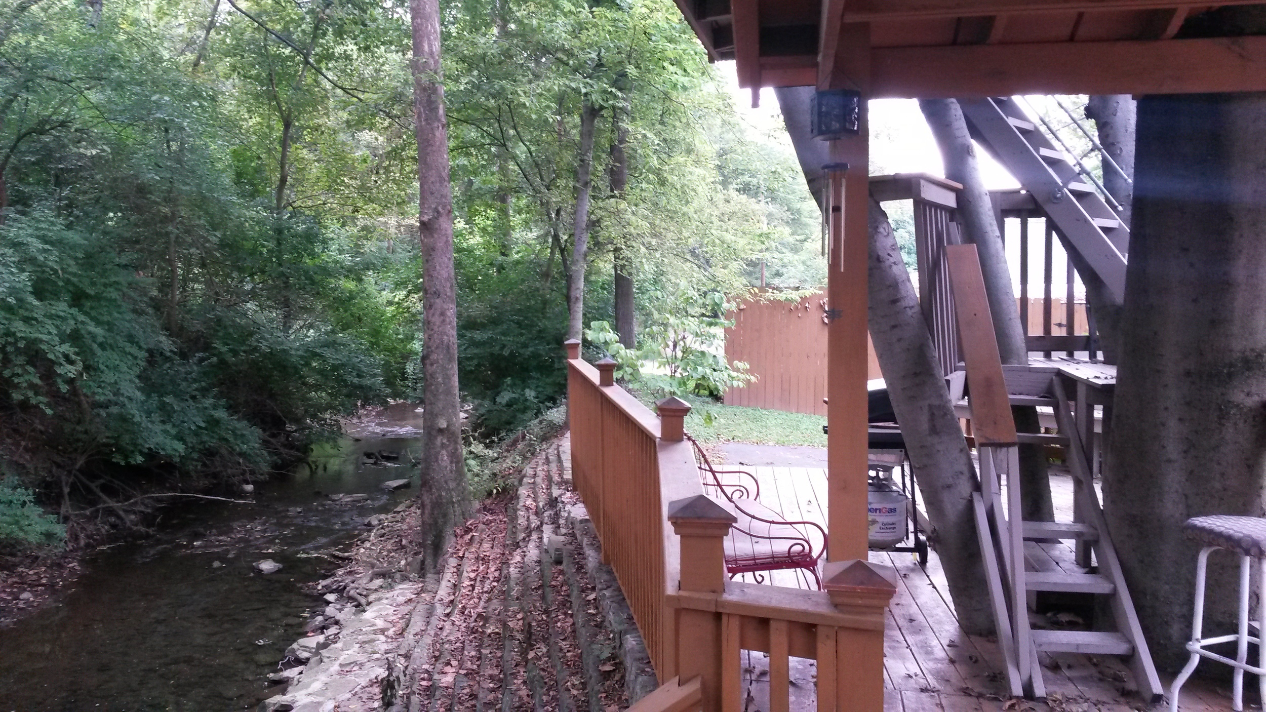 The stream at the back of the tree house.