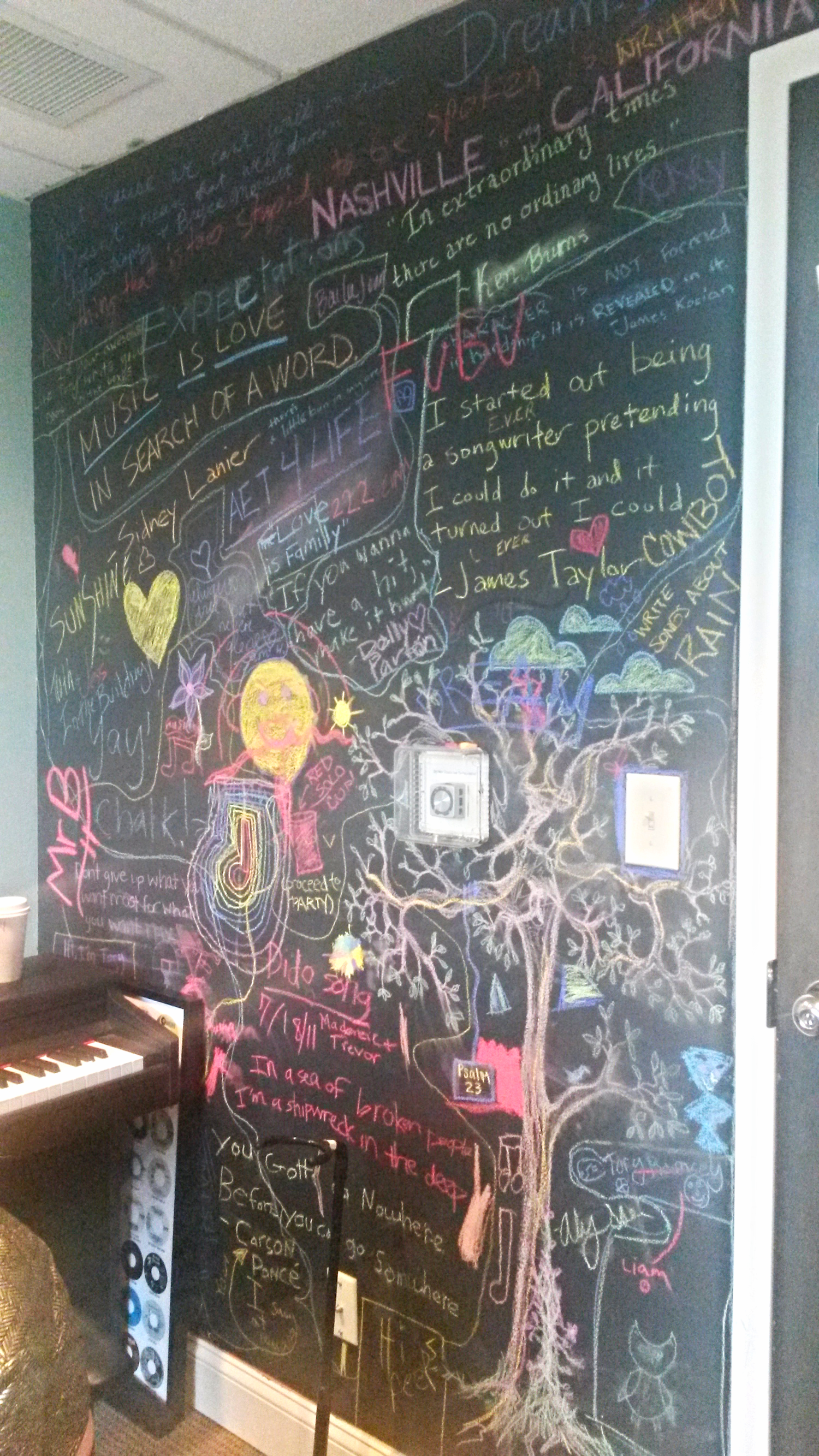 A blackboard wall in our studio in Belmont. There is a great Dolly Parton quote written on it that reads: 'If you want to write a hit make it hurt.' Wise words!