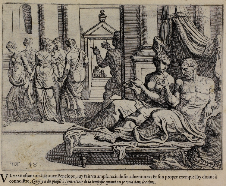 Theodoor van Thulden, copy after Primaticcio,  T  he Works of Ulysses: Lying in Bed, Ulysses Tells of His Adventures