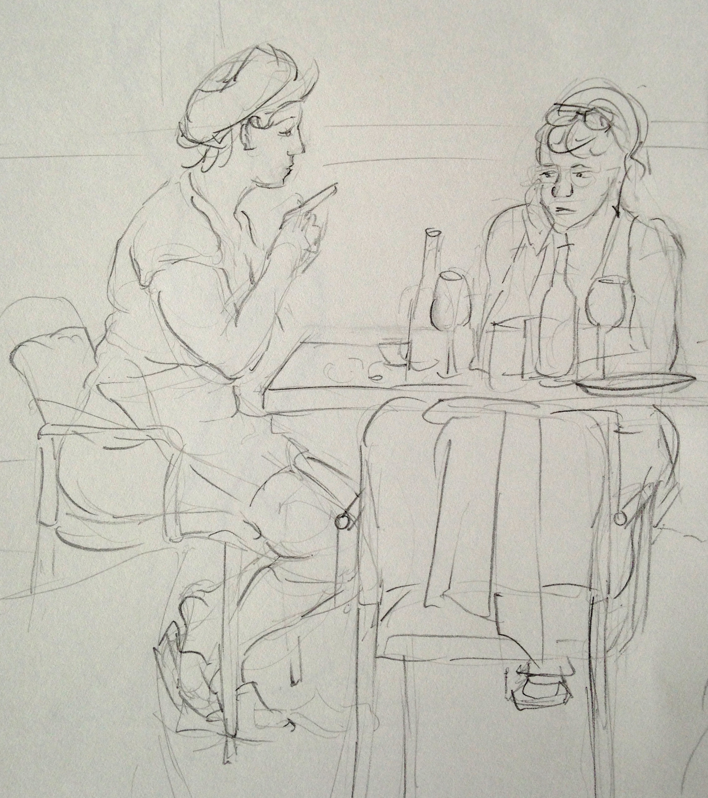 Quick Gesture of Two Women in Montenucci's Cafe