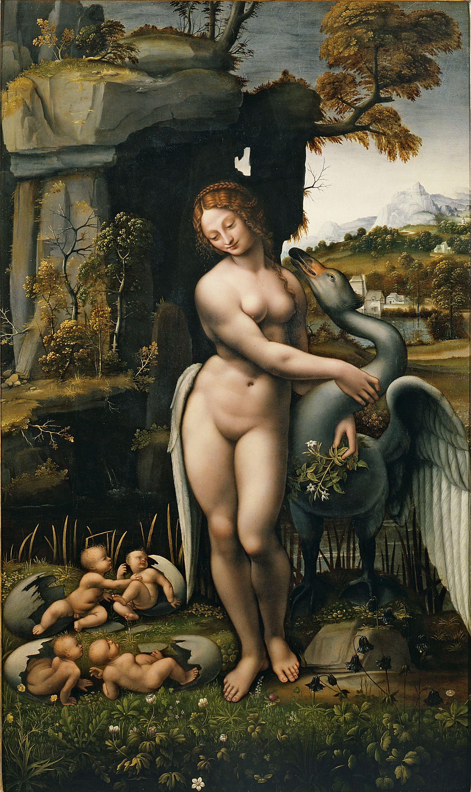 Unknown Copyist ofLeonardo da Vinci, Spiridon Leda, Oil on wood, ca. 1505-1507