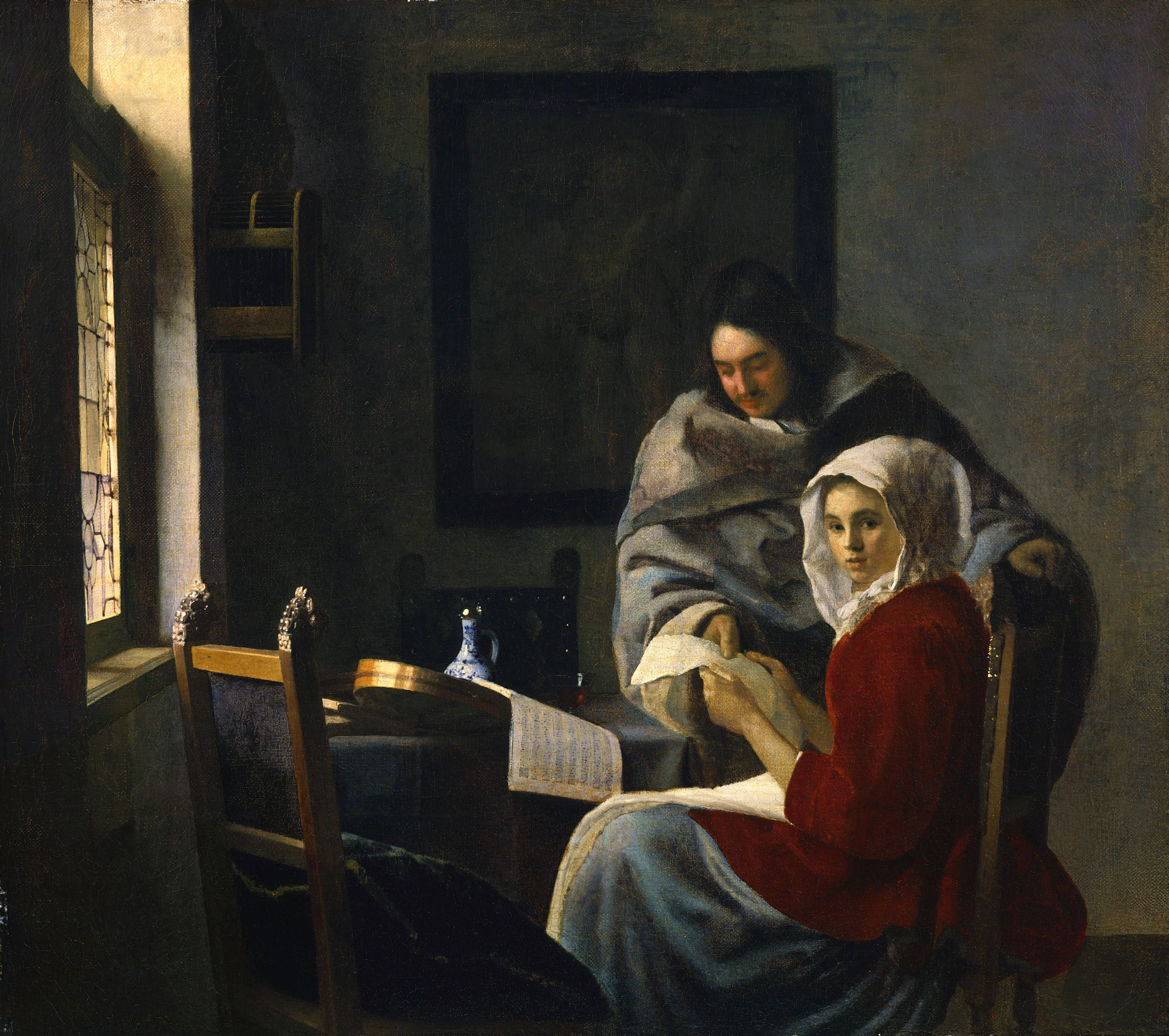 Johannes Vermeer, Girl Interrupted at Her Music, 1658-59, Oil on canvas