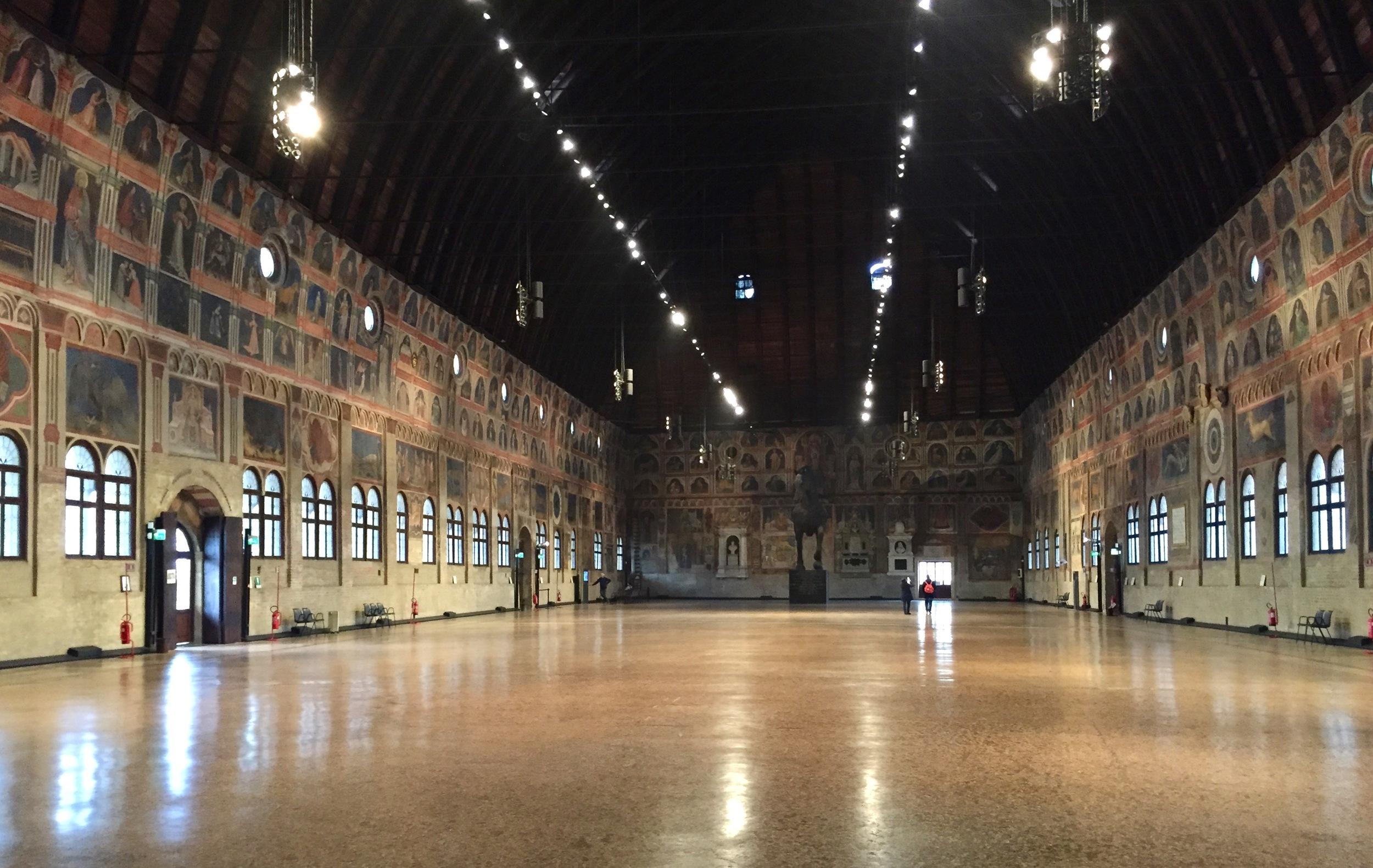 Interior of the Palazzo della Ragione, building circa 1218, paintings circa 1450