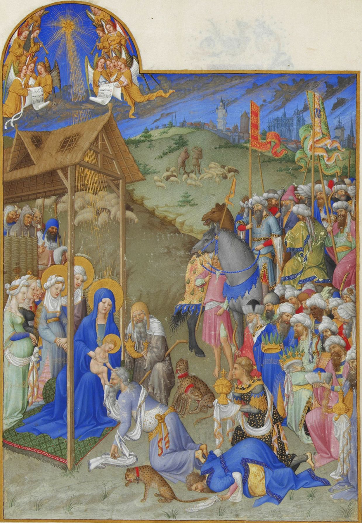 Limbourg Brothers,   The Tres Riches Heures of Jean De Berry, Calendar: Adoration of the Magi,   Ink on vellum, 1413-1416