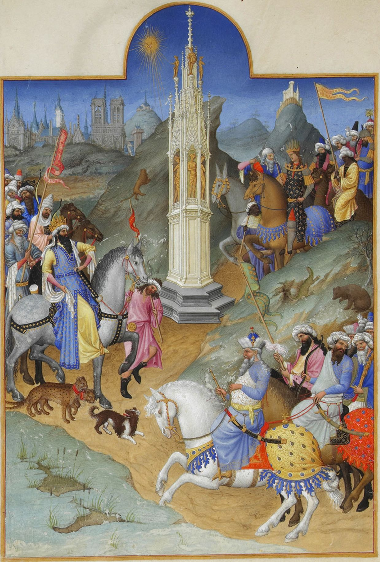 Limbourg Brothers,   The Tres Riches Heures of Jean De Berry, Calendar: Meeting of the Magi,   Ink on vellum, 1413-1416