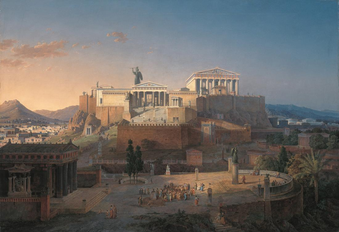 Leo von Klenze,  Reconstruction of the Acropolis and Areus Pagus in Athens,  1846, Oil on canvas