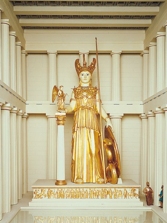 Reproduction of  Athena Parthenos  in the Royal Ontario Museum.  The reproduction was made circa 1970 by G. P. Stevens and Sylvia Hahn.  The original was made in the fifth century BCE by Pheidias.