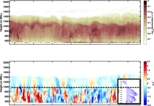 Figure 3.  Panels as in Fig. 2, but showing a detail of convective plumes and gravity waves. Note the up-down couplets of vertical velocity at a lower frequency and intensity in the layer above the CBL. These wave correspond to the undulations in the aerosol backscatter in the top panel.