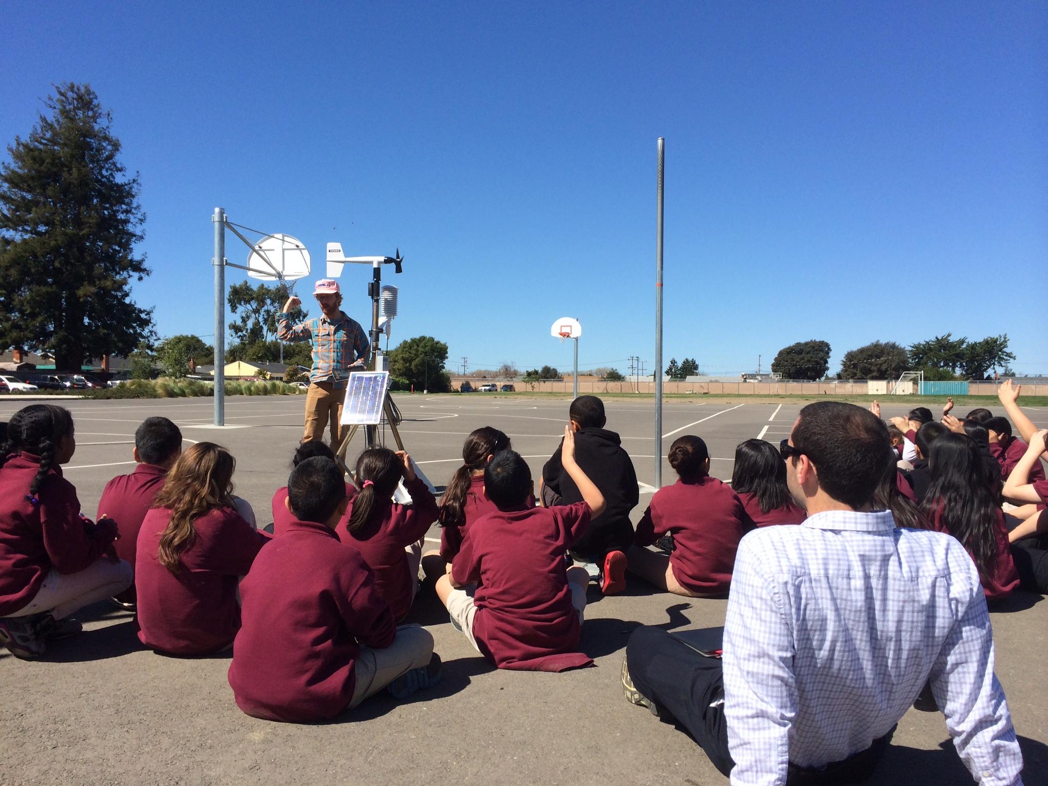 Dr. Neil Lareau demonstrates a RAWS to students at KIPP Summit Academy, San Lorenzo, California.