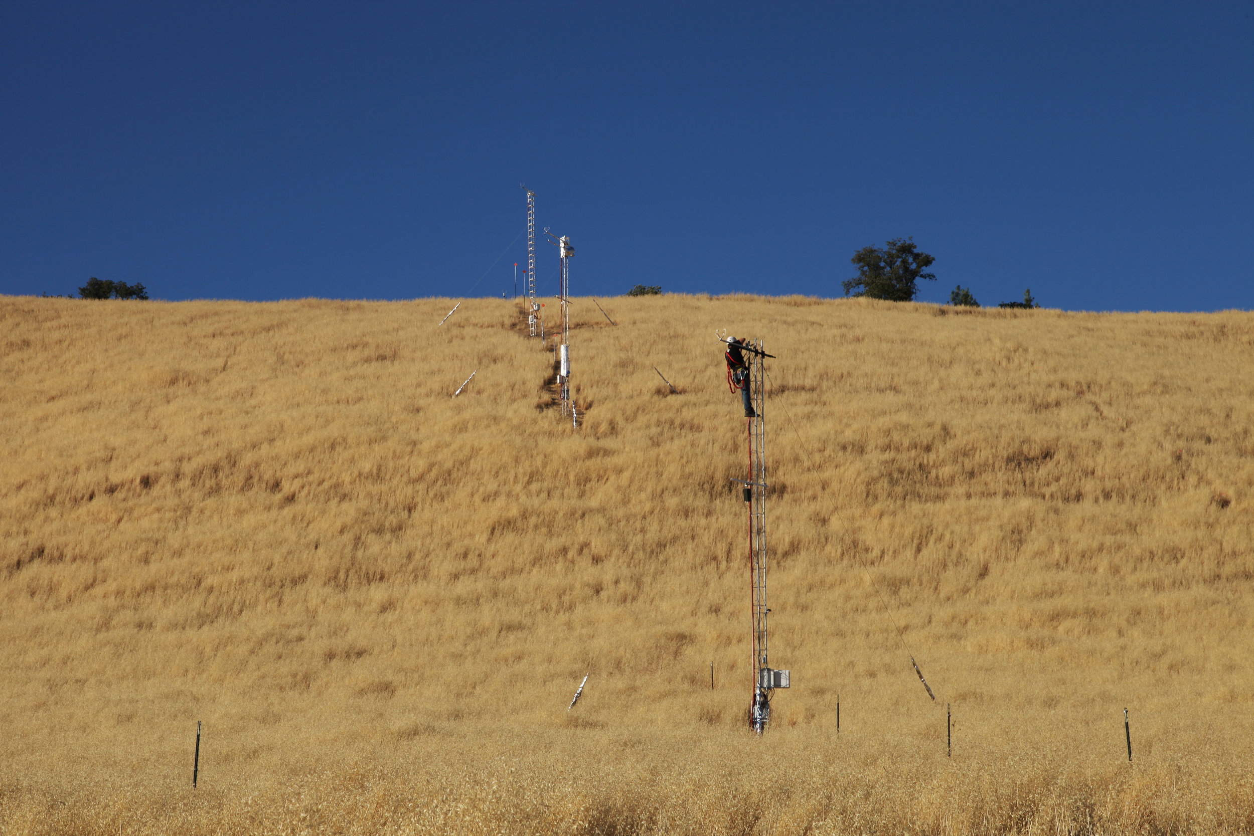 Tower preparation for slope fire experiment, 2012.