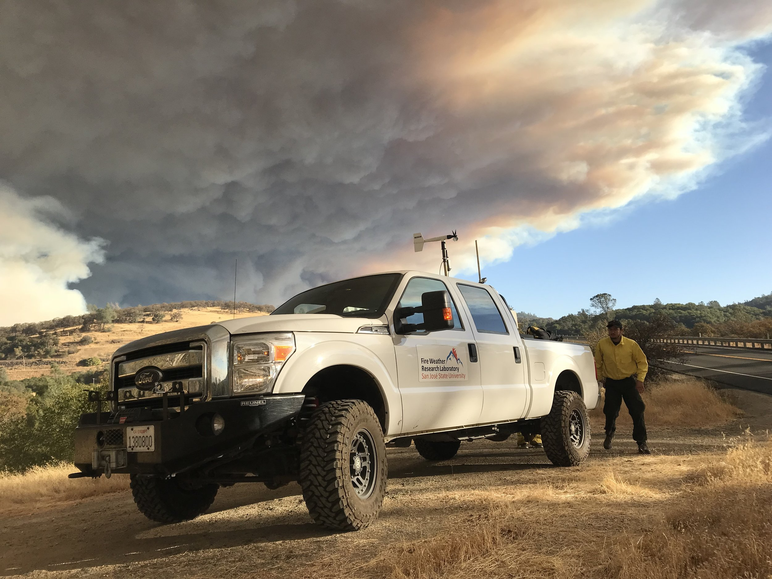 CSU-MAPS truck with Doppler lidar deployed to the Camp Fire, Paradise, CA 2018.