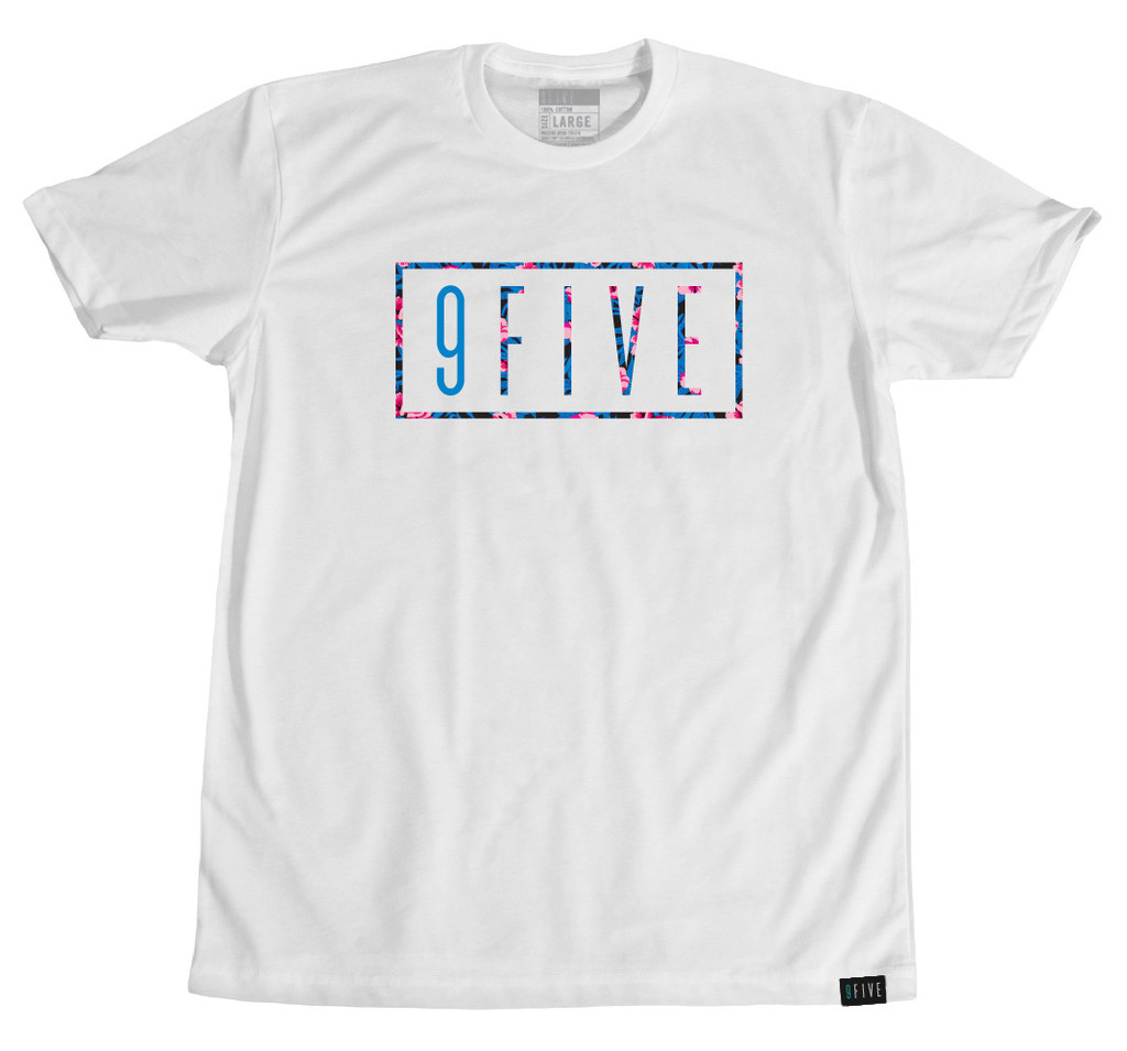 "White t-shirt displaying the 9FIVE logo with clipping mask of the ""Rio"" flower vector pattern shown above"