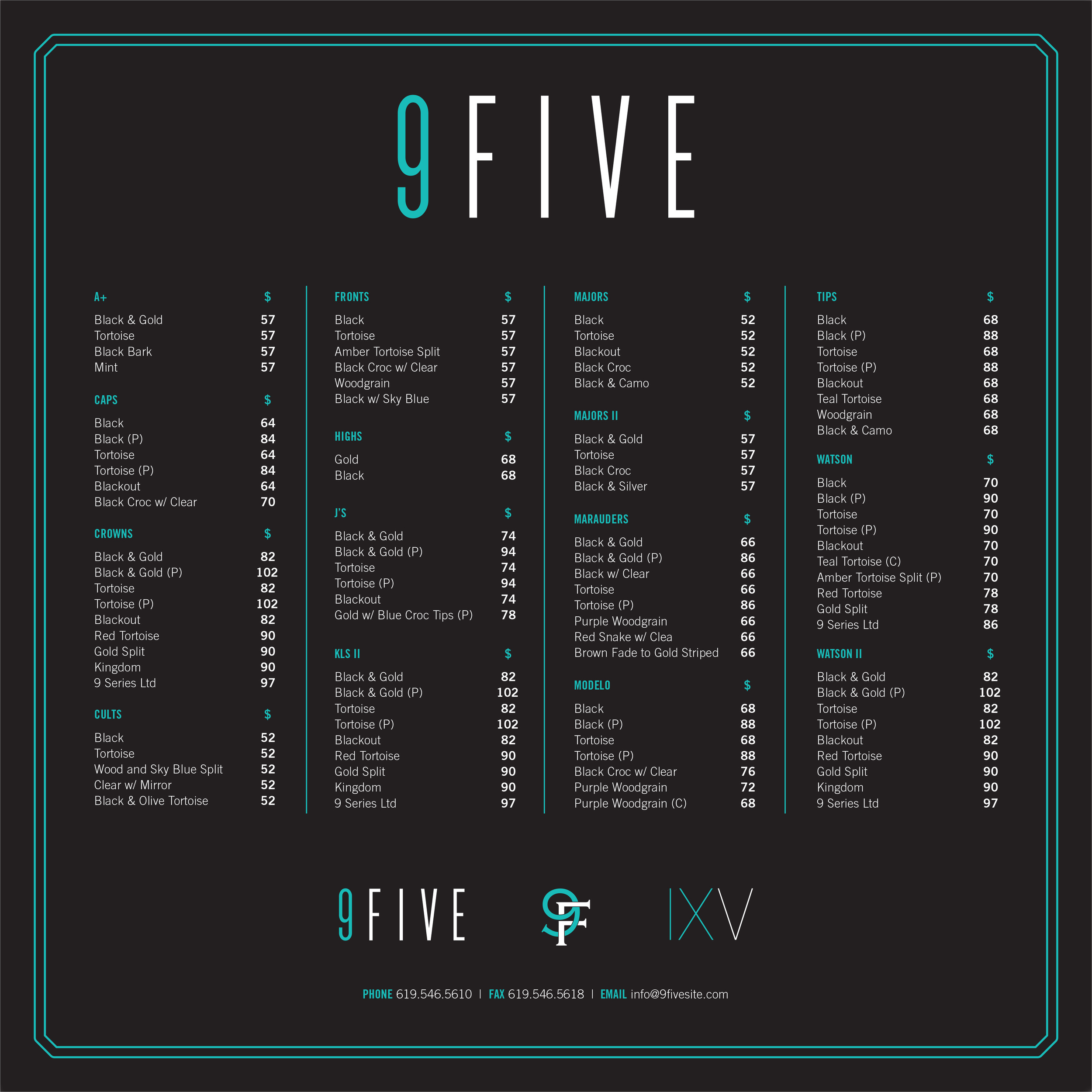 9FIVE price list featuring the styles and prices of sunglasses
