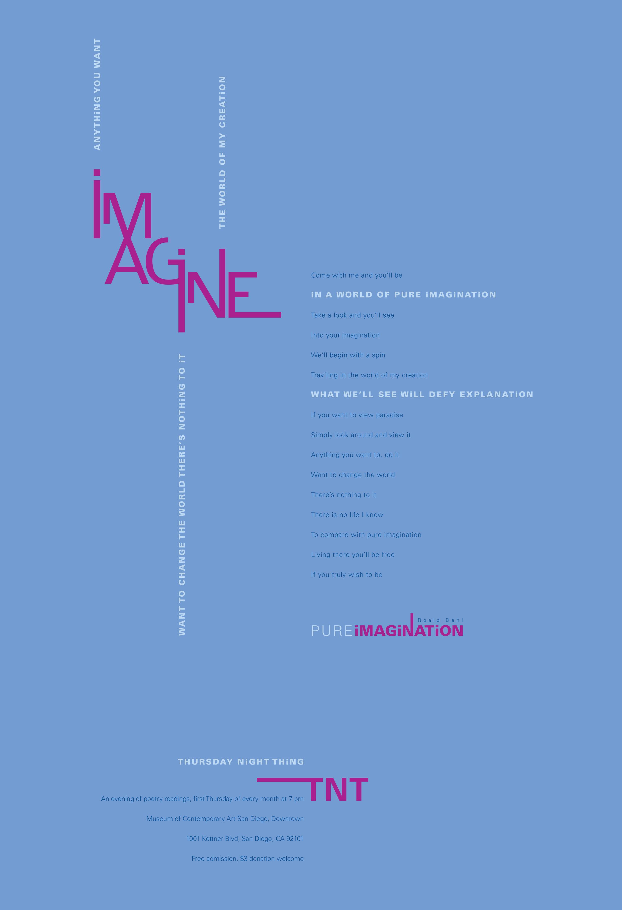 "Thursday Night Thing poster designed around the ""Imagine"" logotype"