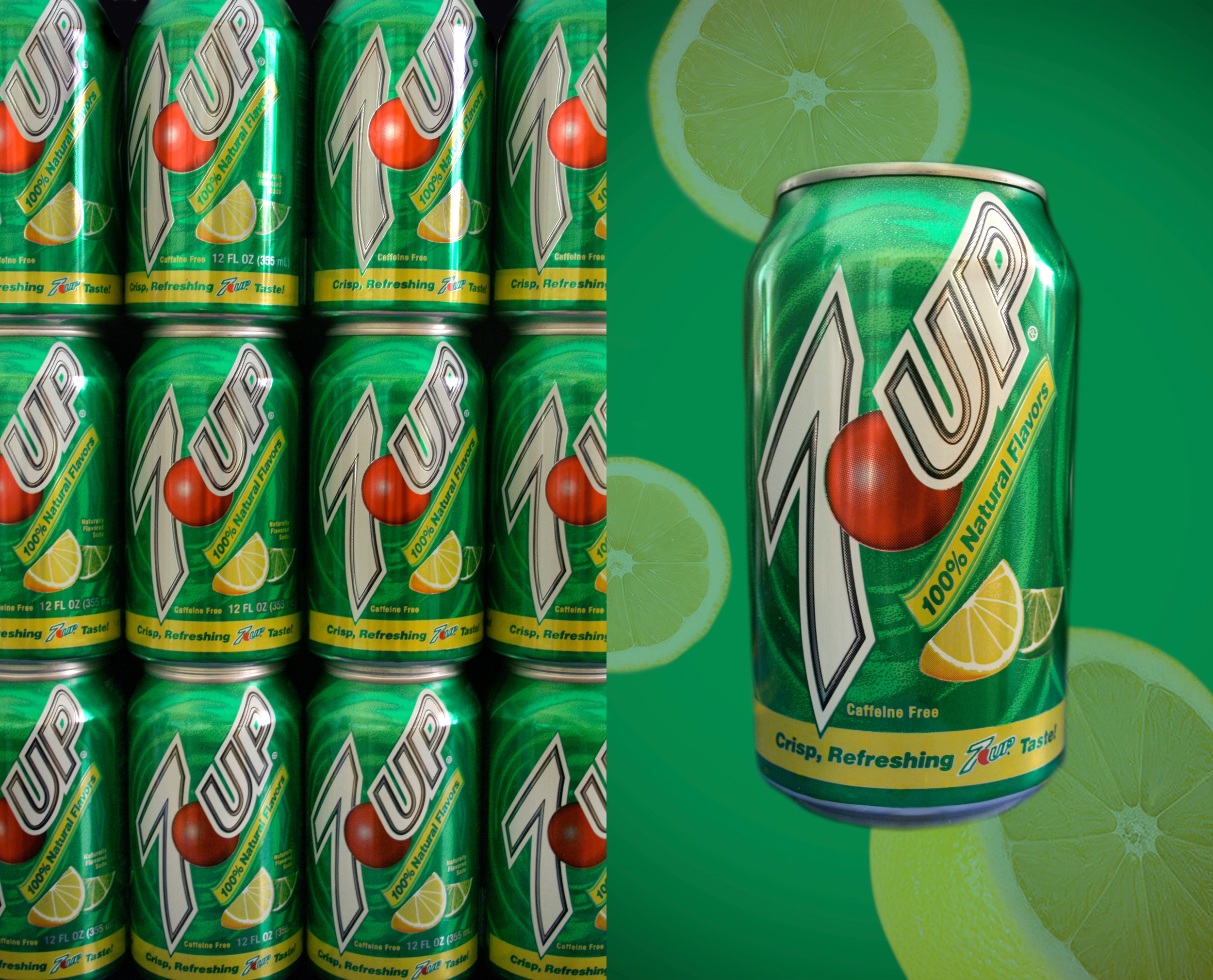 Diptych study on modern product advertisement (7Up)