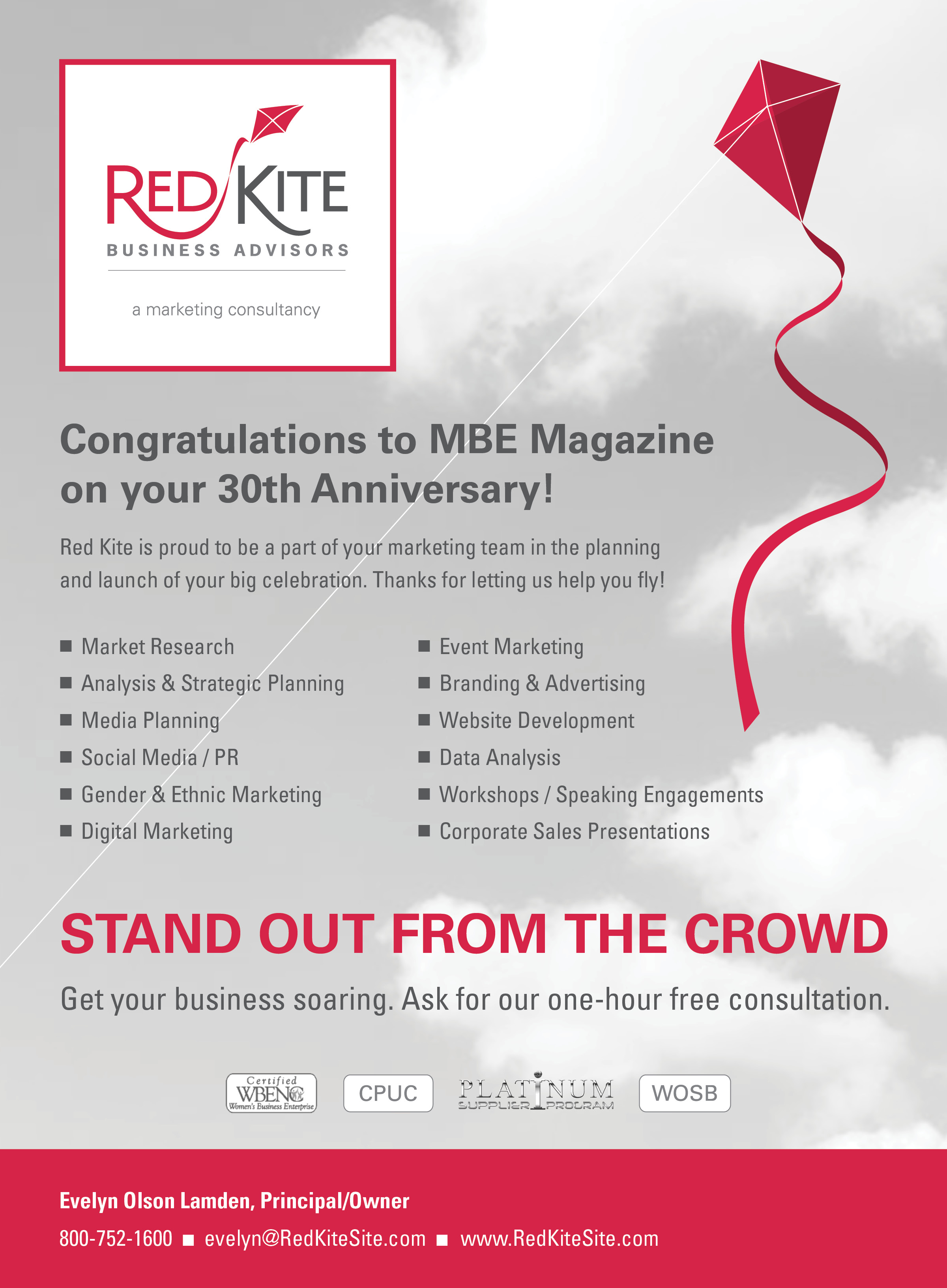 Full page ad designed for the MBE 30th Anniversary magazine