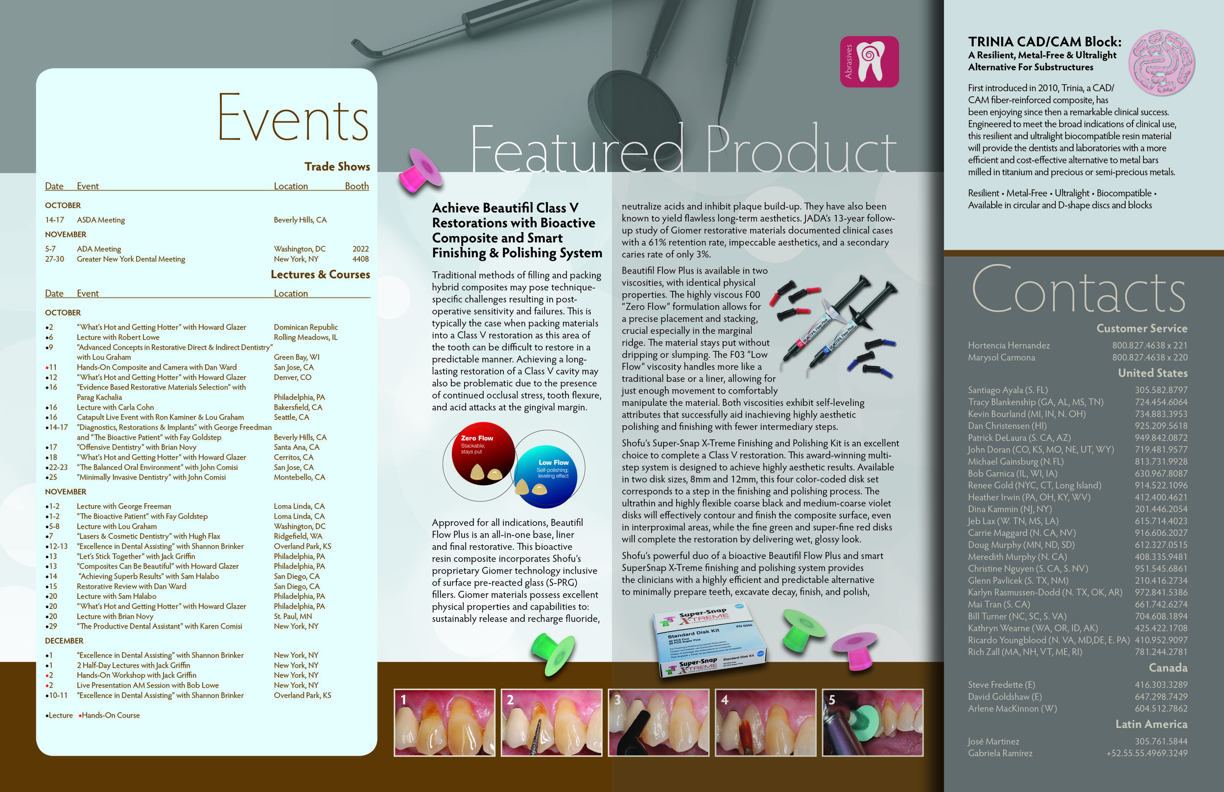 Inside spread with articles and events