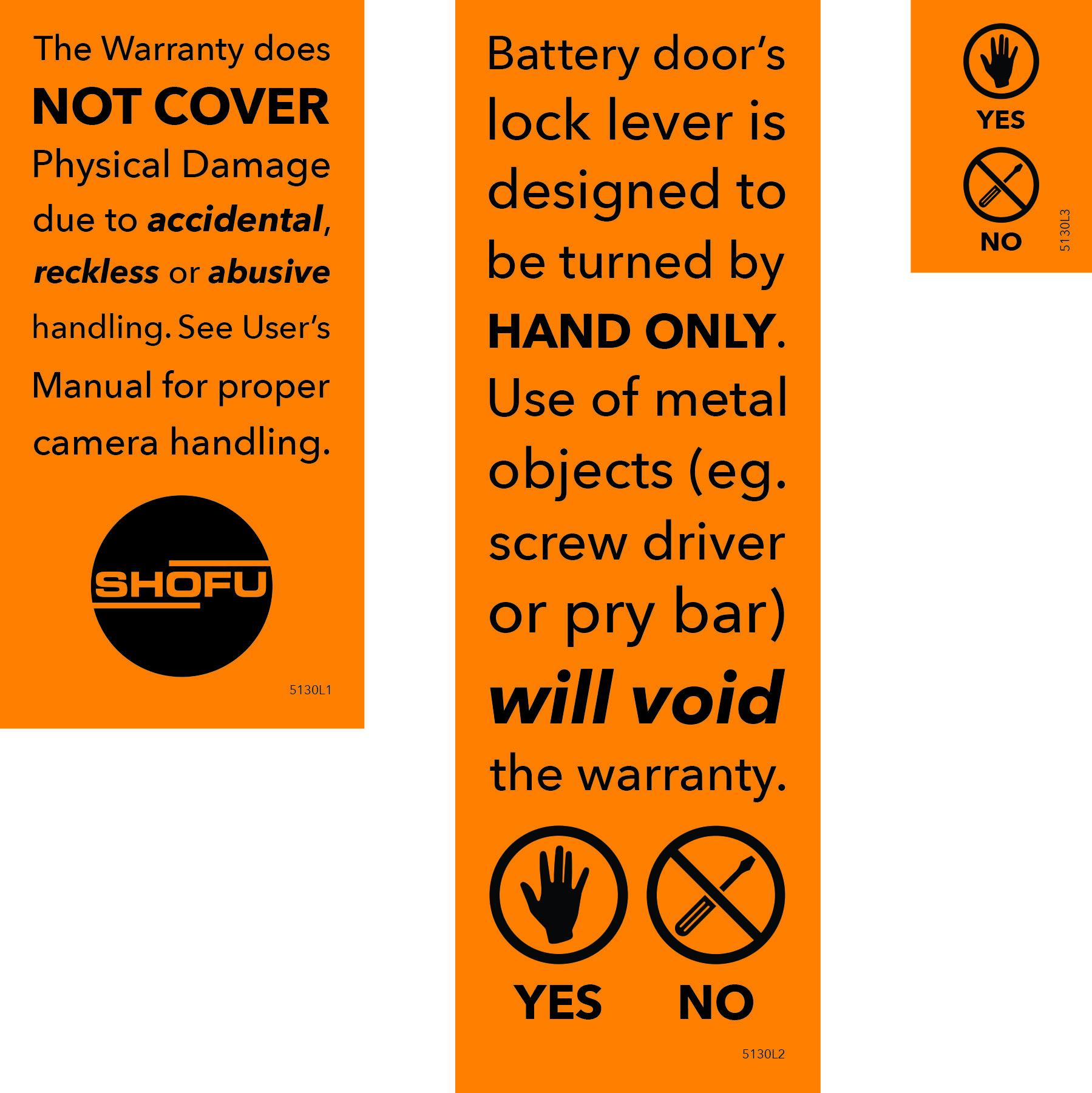 Left: Shipping box sticker | Middle: Manual insert | Right: Camera battery door sticker