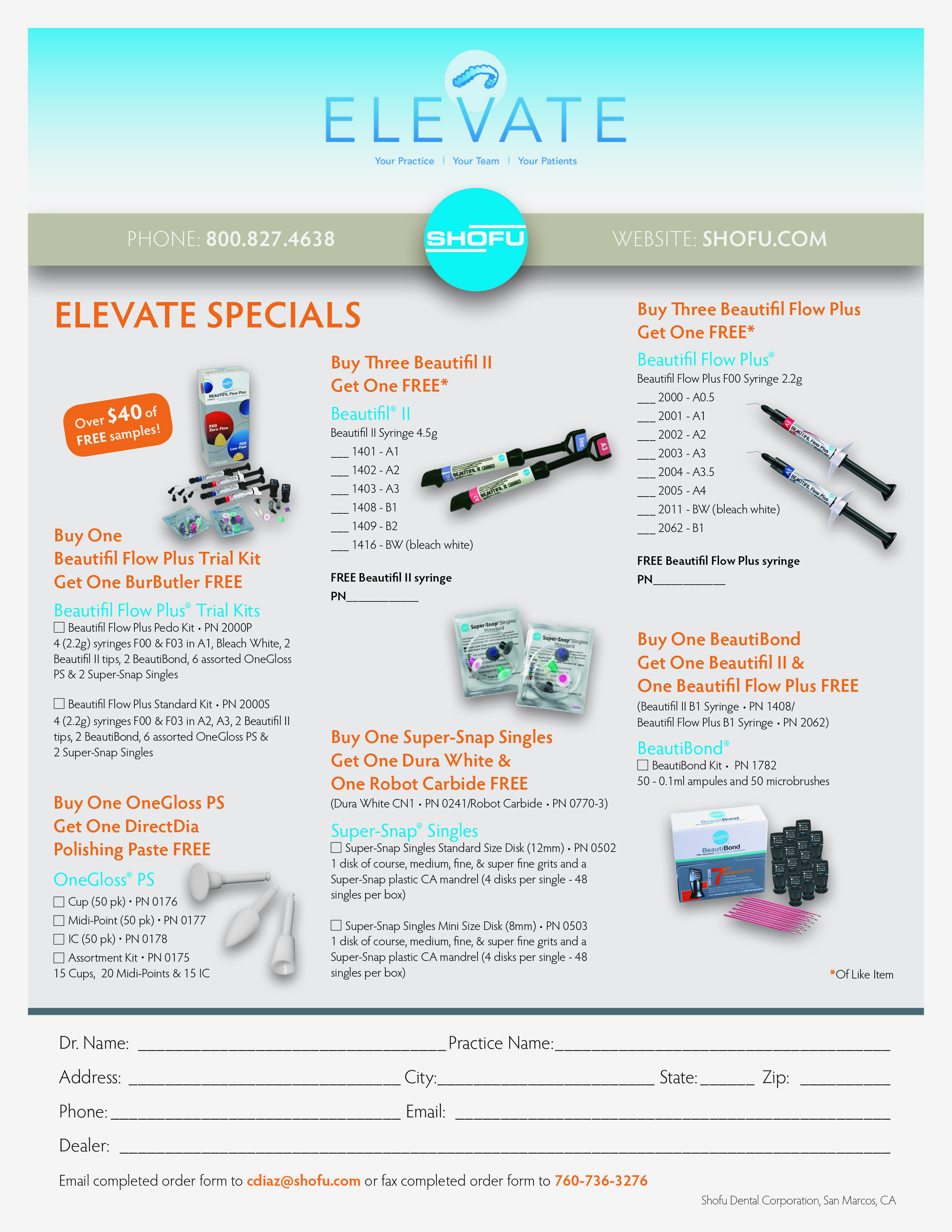 Order form for Elevate, an external company