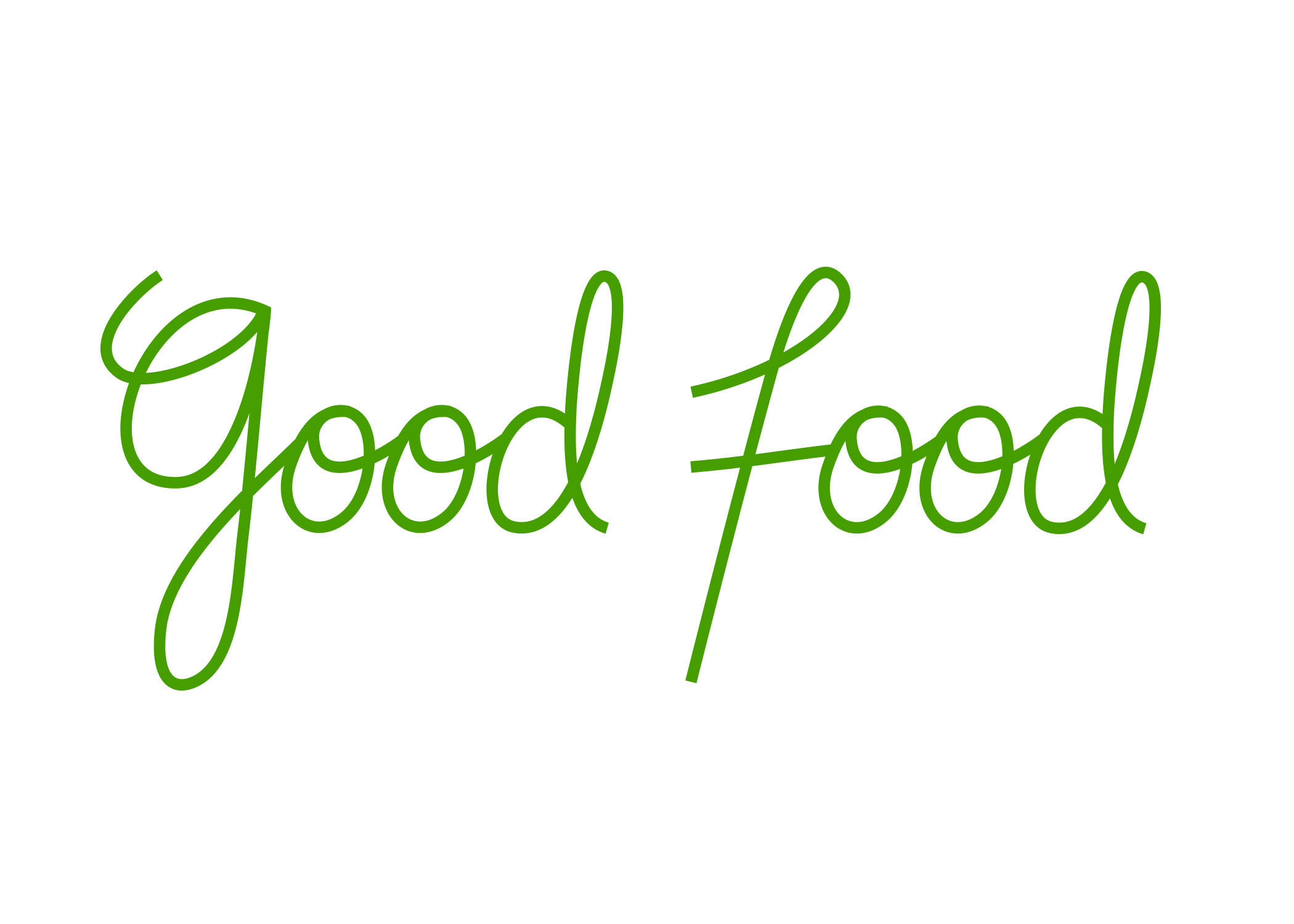 A handwritten logo was created for Good Food