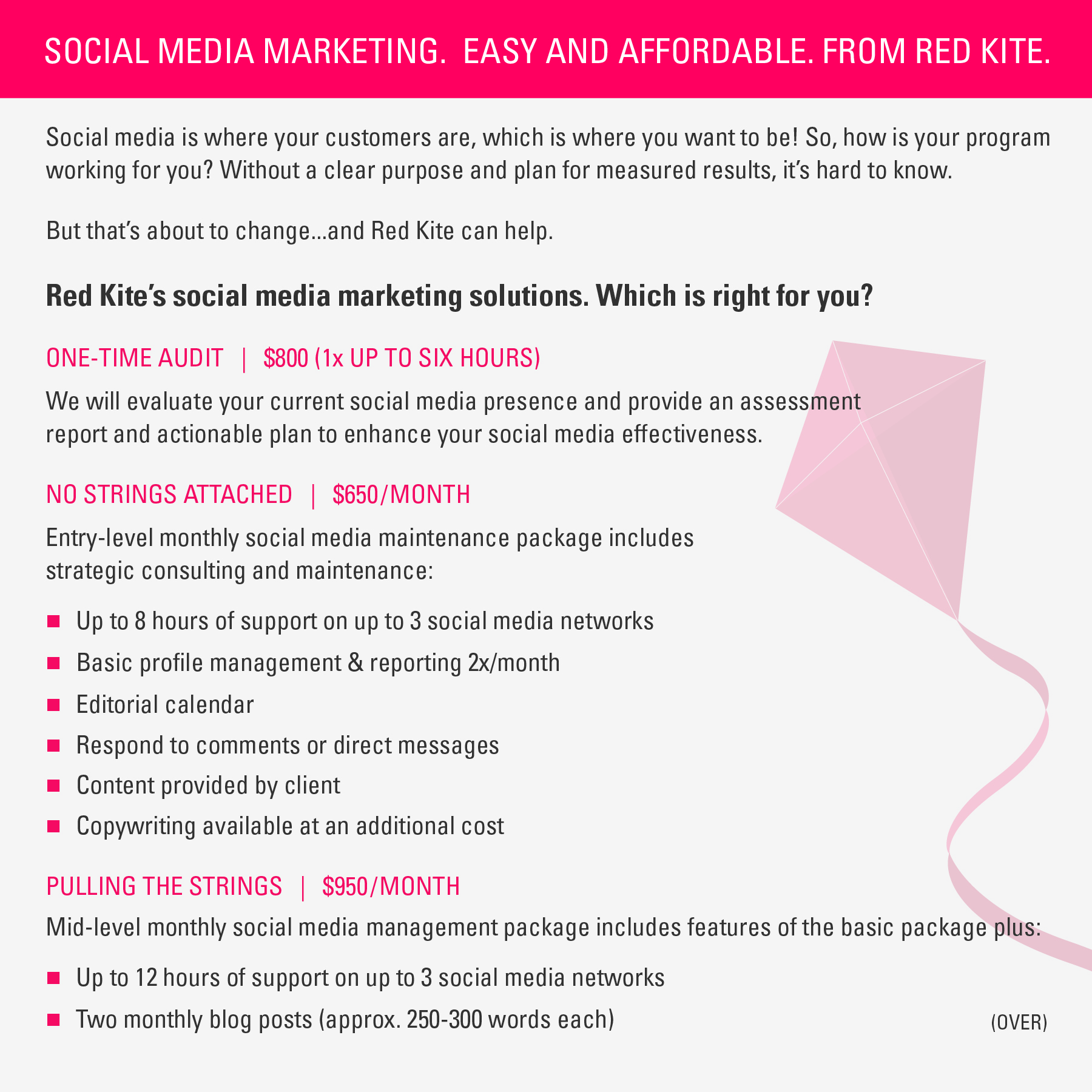 Informational handout on social media packages and pricing (FRONT)