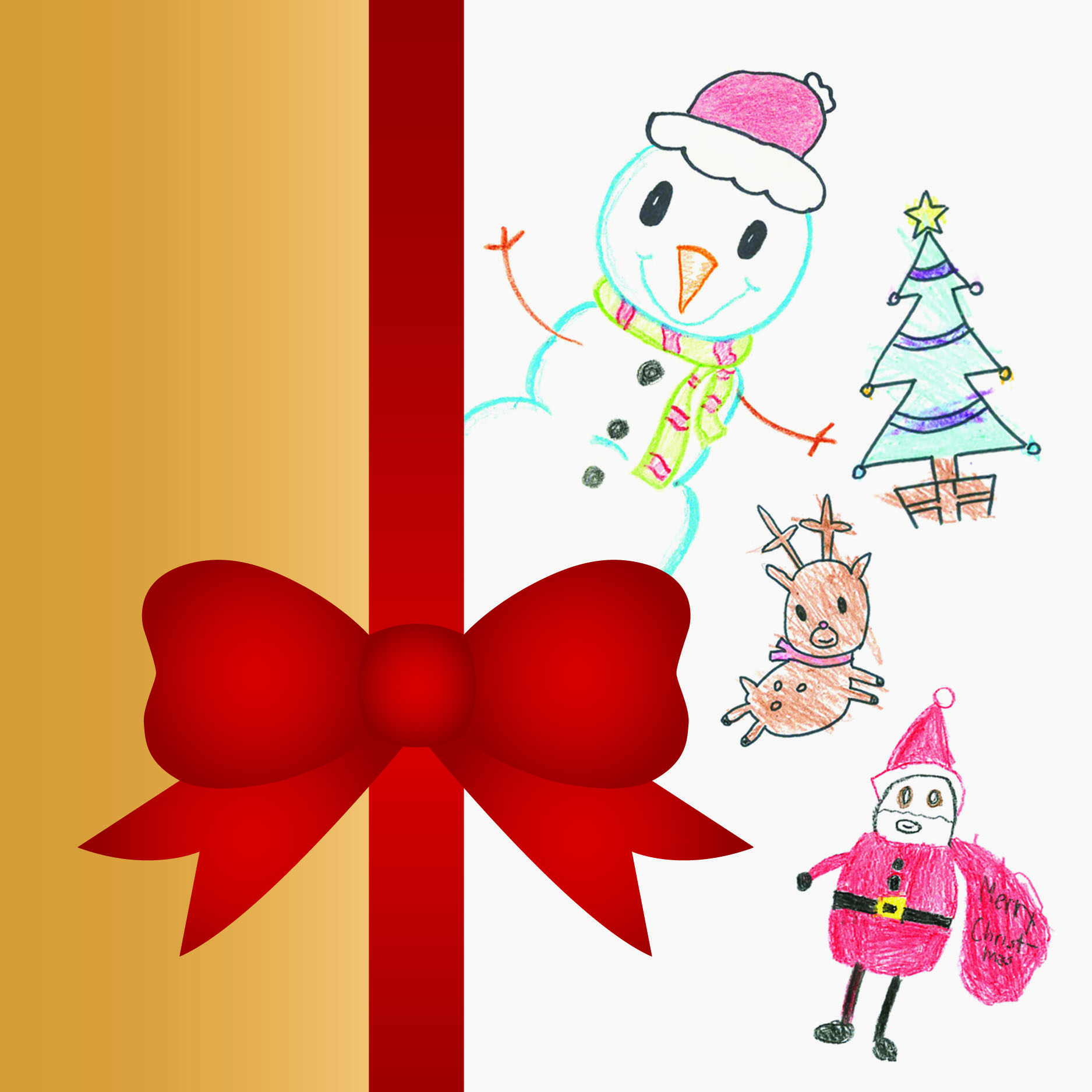 Holiday card | December 2015.The company wanted to include drawings by their kids (FRONT)
