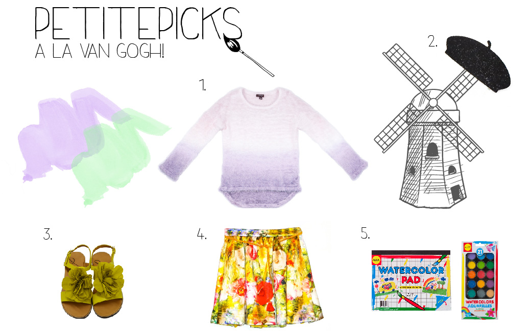 1.  Imoga Anita-Lavender-Ombre  2.  Little Lids Darren Wool Felt Belt  3.  Lanvin Yellow Flower Sandal  4.  Alivia Simone Floral Skirt  5.  Alex Brands Watercolor Pad ;  Alex Brands Aquarelles