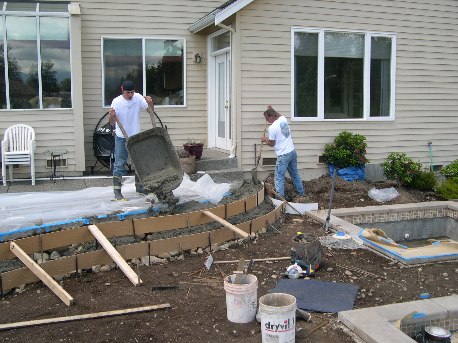 Pouring the Steps on the Deck