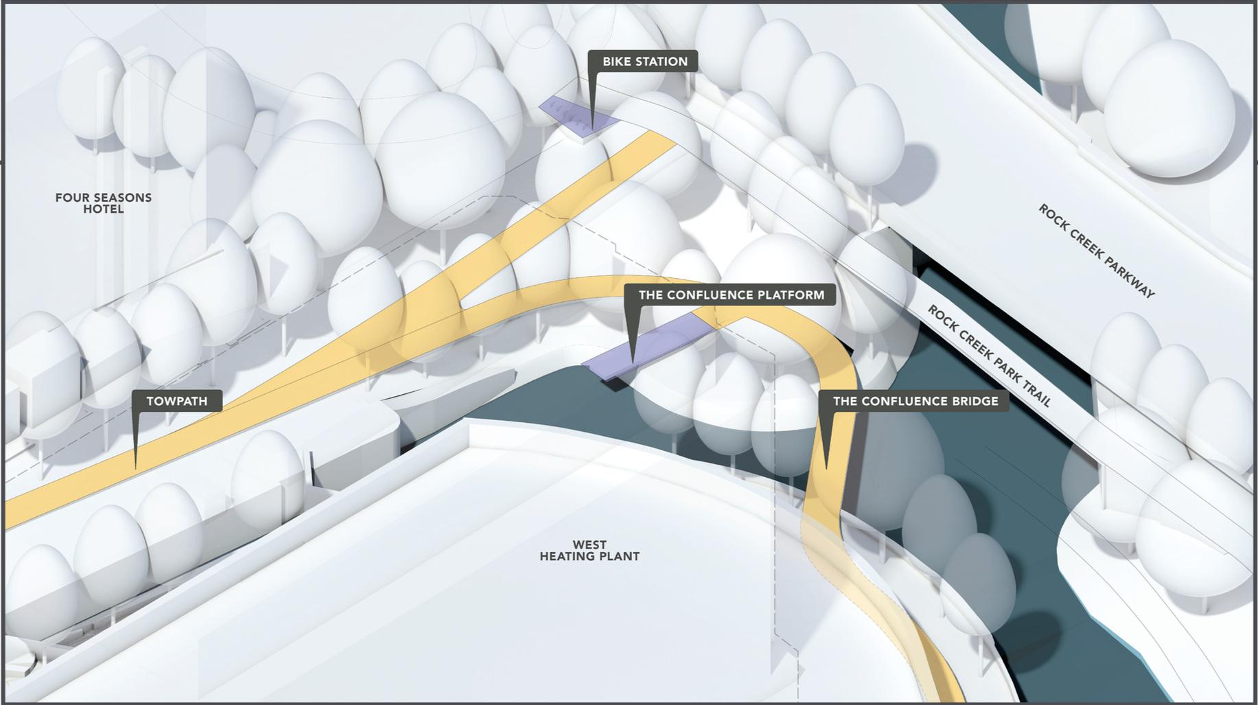 Rock Creek Confluence - Option A, 3D View