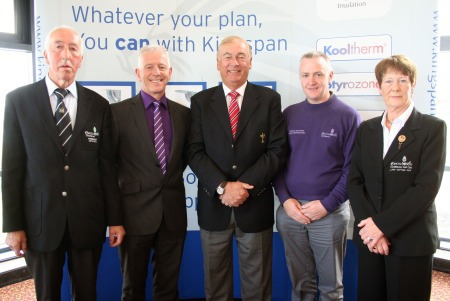 Andy Whelan (Concra Wood GC President), Pat Freeman (MD, Kingspan), Christy O'Connor Jnr (course designer), Conor McKenna (Head Professional Concra Wood GC) and Ms Eithne McAviney (Lady Captain, Concra Wood GC) at the tournament launch.