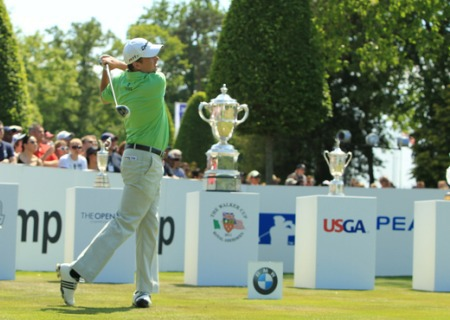 Peter Lawrie got a close up view of the US Open trophy during the BMW PGA last week. Picture Fran Caffrey/www.golffile.ie