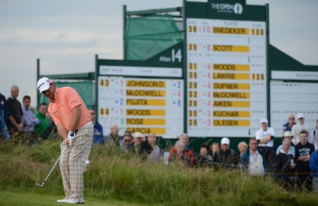 In the mix again. Graeme McDowell chips to the 15th in the second round. Picture Fran Caffrey www.golffile.ie