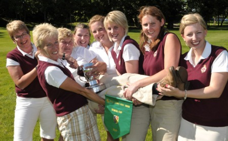 Royal Portrush celebrate their 25th Senior Cup win at Grange. Picture by Pat Cashman