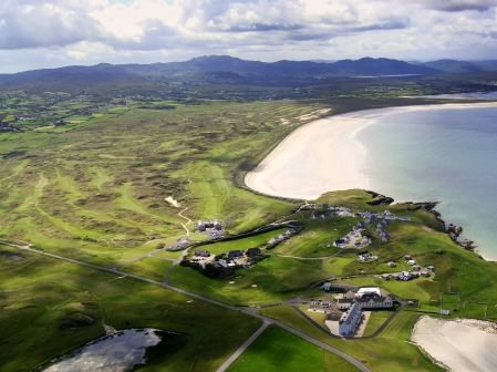 The Rosapenna Hotel & Golf Resort with 81 links holes, 66 bedroom hotel, Golf Pavilion, Leisure Centre, Practice Ground and 12-hole, Par-3 course along the beautiful Tramore Beach in North-West Donegal, Ireland