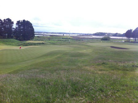 The par-five third at Baltray with the Boyne estuary in the background.