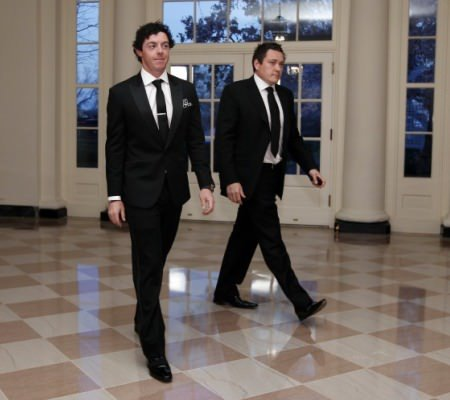 Going their separate ways. Rory McIlroy and Horizon Sports Management's Conor Ridge visit the White House in March 2012. (AP Photo/Charles Dharapak)
