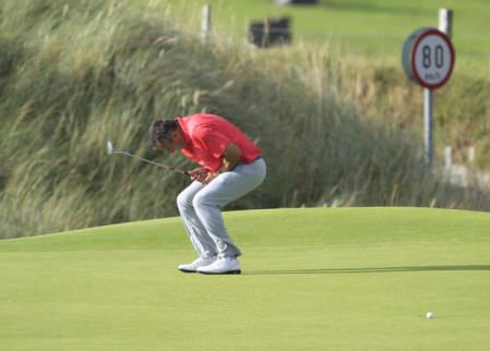 Agony for Pat Murray as a putt slips by on the 12th in the fourth round of the South of Ireland Championship. Picture: Thos Caffrey / www.golffile.ie