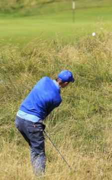 Eugene Smith (Ardee) in the rough on the 13th at Lahinch Golf Club. Picture: Thos Caffrey / www.golffile.ie