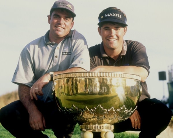 [Paul McGinley] Paul McGinley and his friend and Stackstown neighbour Pádraig Harrington with the World Cup of Golf in 1997.