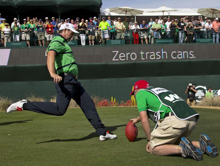 Padraig Harrington kicks on Friday in Phoenix last year.