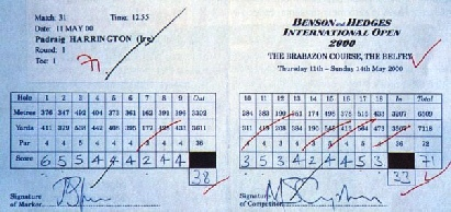 Pádraig Harringtons Benson & Hedges scorecard. It was signed by Jamie Spence and Michael Campbell but not by Harrington himself. Picture via scottishgolfmuseum.co.uk
