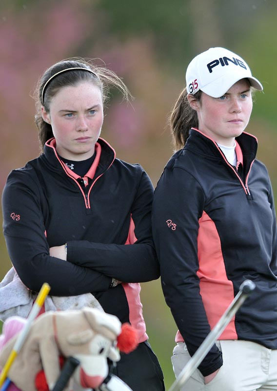 Winner Leona Maguire (Slieve Russell) with her caddy twin sister Lisa during the final round of the Irish Under 18 Girls' Open Strokeplay Championship at Roganstown Golf Club (22/04/2012). Picture by Pat Cashman  cashmanphotography.ie